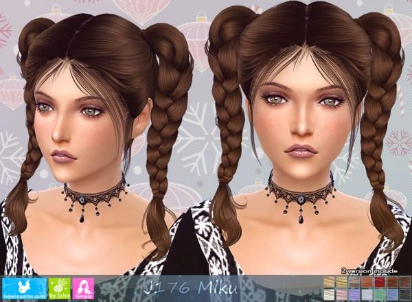 NewSea: J176 Miku Hair for Sims 4