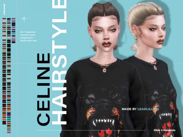 The Sims Resource: Celine Hair by LeahLillith for Sims 4