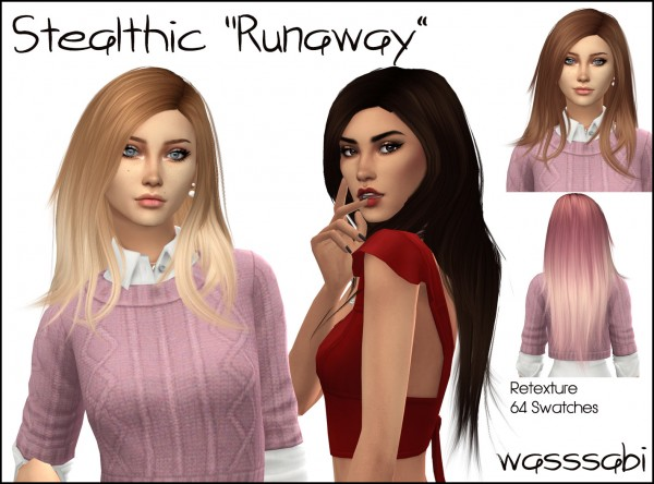 Wasssabi Sims: Stealthic`s Runaway hair retextured for Sims 4