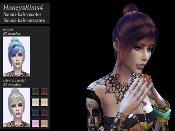 The Sims Resource: Wings OE0206 hair retextured by HoneysSims4 for Sims 4