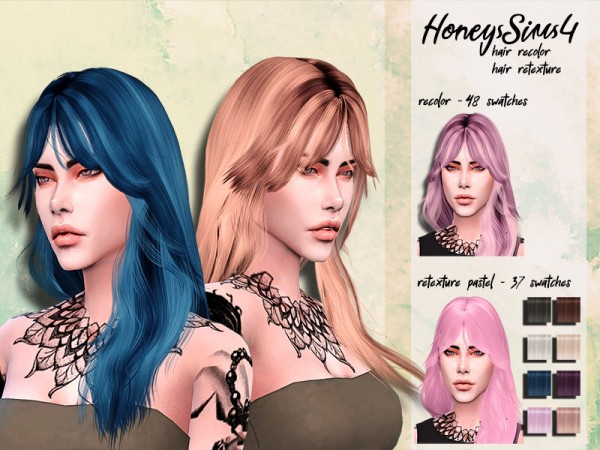 The Sims Resource: Wings ON1020 hair retextured by HoneysSims4 for Sims 4