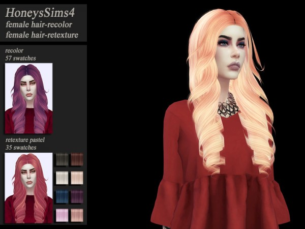 The Sims Resource: Tsminh`s hair recolor by HoneysSims4 for Sims 4