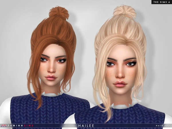 The Sims Resource: Hailee Hair 103 by TsminhSims for Sims 4