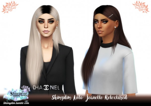 Shimydim: Anto` Jeanette Hair Retextured for Sims 4