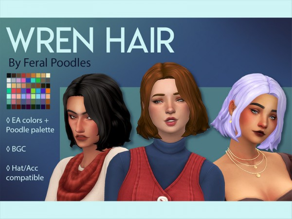 The Sims Resource: Wren Hair Retextured by feralpoodles for Sims 4