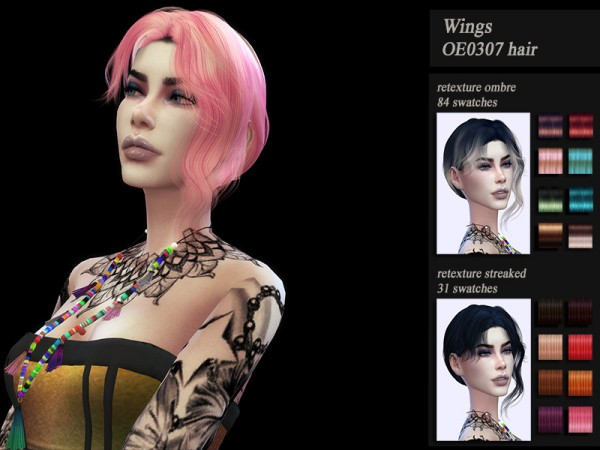 The Sims Resource: Wings OE0307 Hair retextured by HoneysSims4 for Sims 4