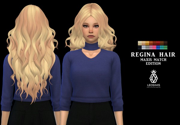 Leo 4 Sims: LeahLillith`s Regina hair recolored for Sims 4