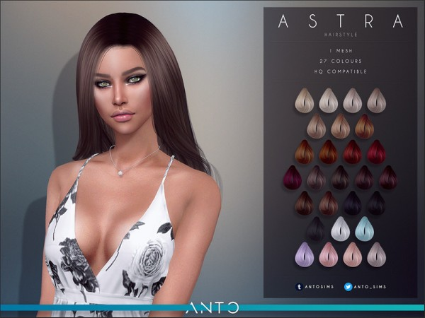 The Sims Resource: Astra Hair by anto for Sims 4