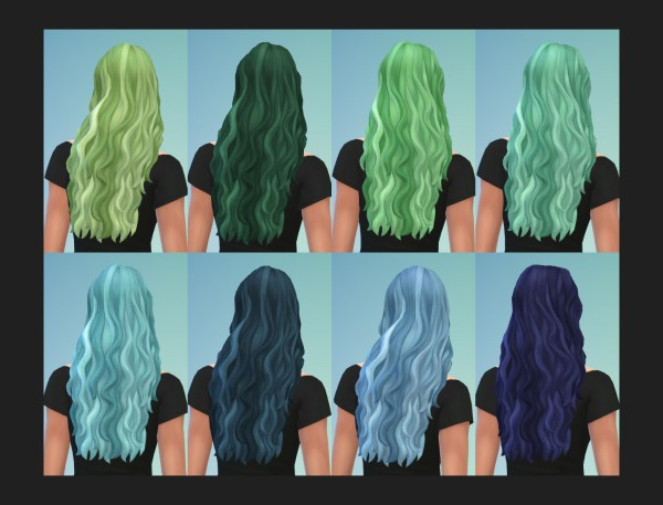 Mod The Sims: Long Waves Messy Hair retextured by Simmiller for Sims 4