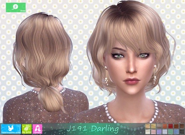 NewSea: J191 Darling Hair for Sims 4