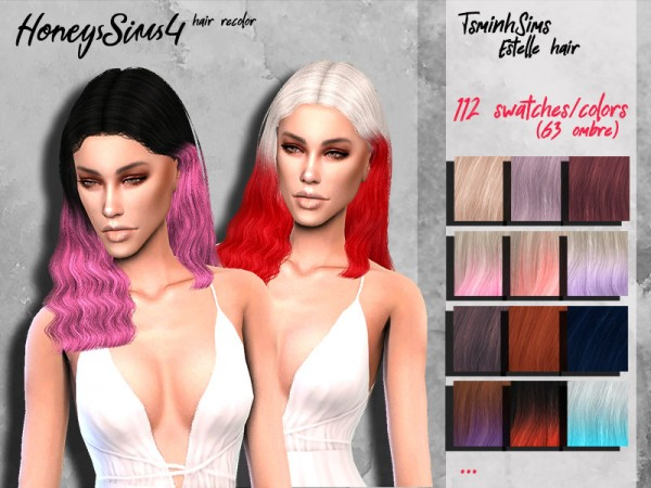 The Sims Resource: Tsminh`s Estelle hair recolored by HoneysSims4 for Sims 4