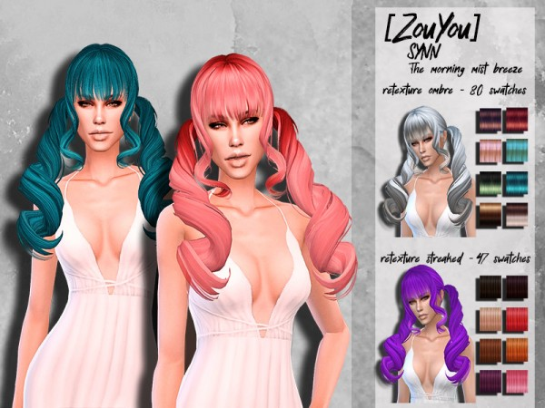 The Sims Resource: ZouYou morning hair retextured by HoneysSims4 for Sims 4