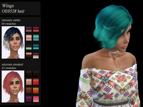 The Sims Resource: Wings OE0528 hair retextured by HoneysSims4 for Sims 4