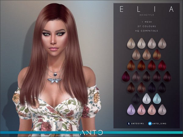 The Sims Resource: Elia Hair by Anto for Sims 4