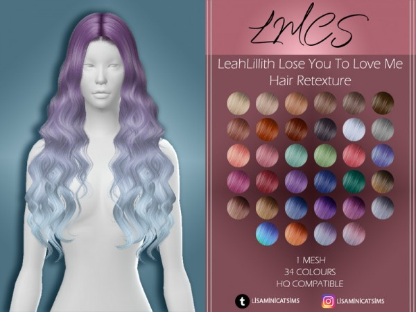 The Sims Resource: LeahLillith Lose You To Love Me Hair Retextured by Lisaminicatsims for Sims 4