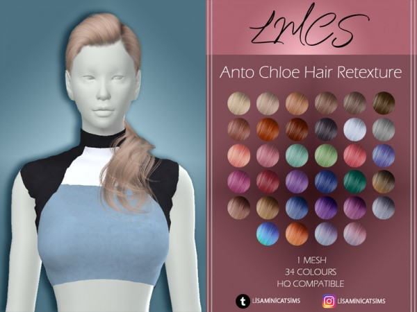 The Sims Resource: Anto`s Chloe Hair Retextured by Lisaminicatsims for Sims 4