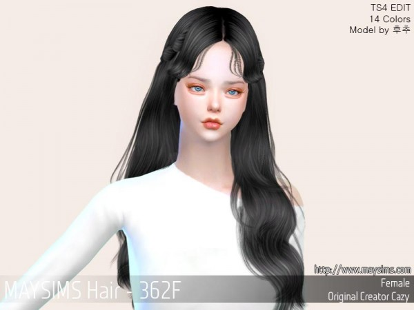 MAY Sims: MAY362F Hair retextured for Sims 4