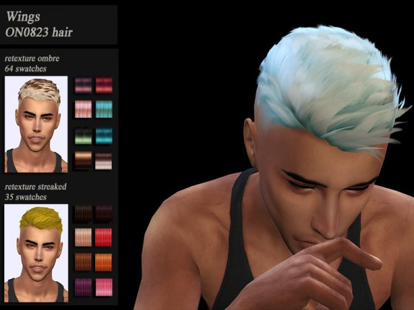 The Sims Resource: Wings ON0823 hair retextured by HoneysSims4 for Sims 4
