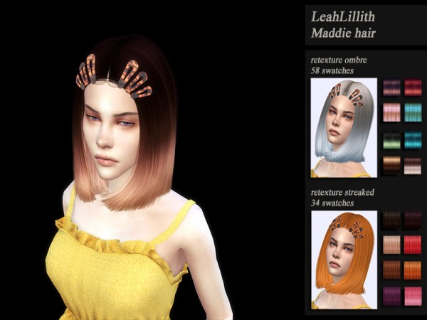 The Sims Resource: LeahLillith`s Maddie hair retextured by HoneysSims4 for Sims 4