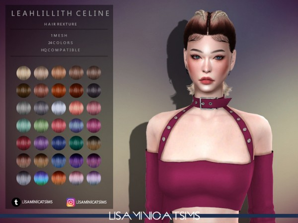 The Sims Resource: LeahLillith`s Celine Hair Retextured by Lisaminicatsims for Sims 4
