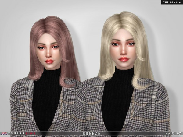 The Sims Resource: Breeze Hair 107 by TsminhSims for Sims 4