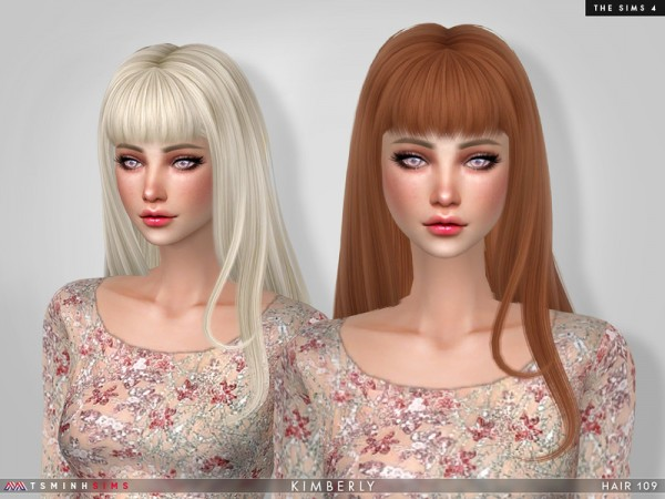 The Sims Resource: Kimberly Hair 109 by TsminhSims for Sims 4