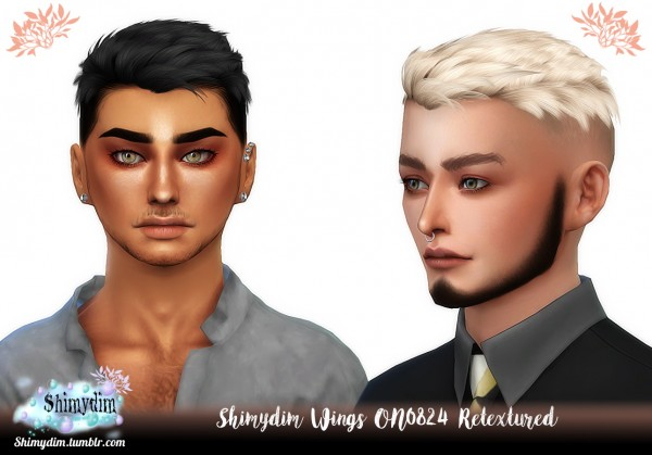 Shimydim: Wings ON0824 hair retextured for Sims 4