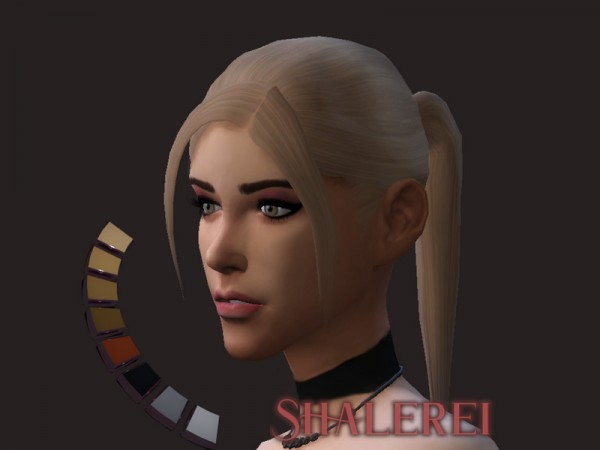 The Sims Resource: Pony with side bangs hair by Shalerei for Sims 4