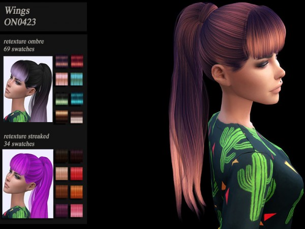 The Sims Resource: WIngs ON0423 hair retextured by HoneysSims4 for Sims 4