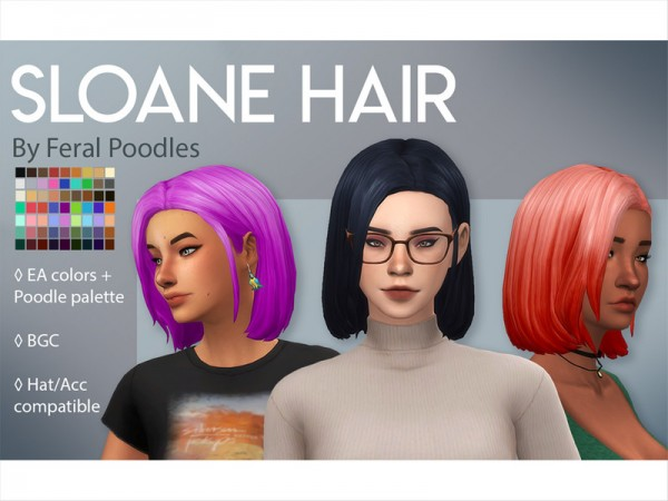 The Sims Resource: Sloane Hair retextured by feralpoodles for Sims 4