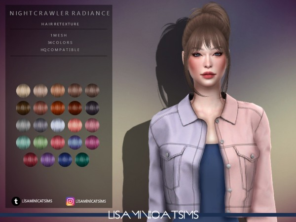 The Sims Resource: Nightcrawler`s Radiance Hair Retextured by Lisaminicatsims for Sims 4