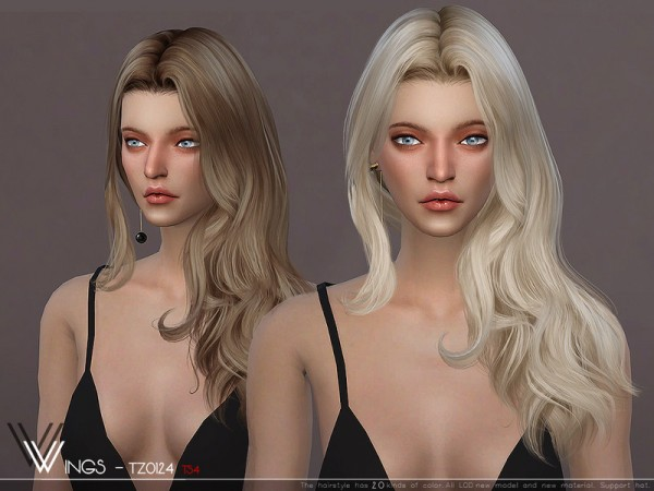 The Sims Resource: WINGS TZ0124 hair for Sims 4