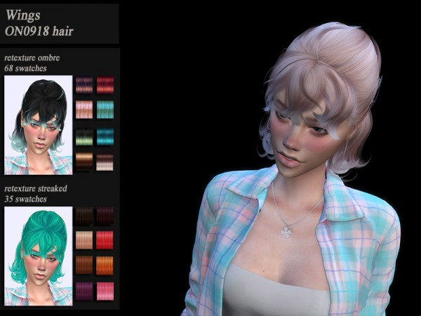 The Sims Resource: Wings ON0918 Hair retextured by HoneysSims4 for Sims 4
