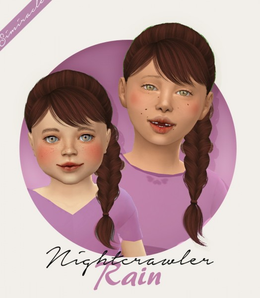 Simiracle: Nightcrawler`s Rain hair retextured   Kids and Toddlers Version for Sims 4