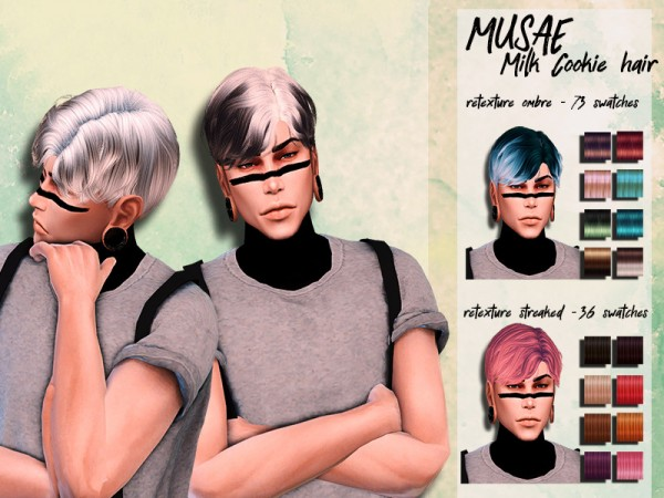 The Sims Resource: Musae`s Milk Cookie hair retextured by HoneysSims4 for Sims 4