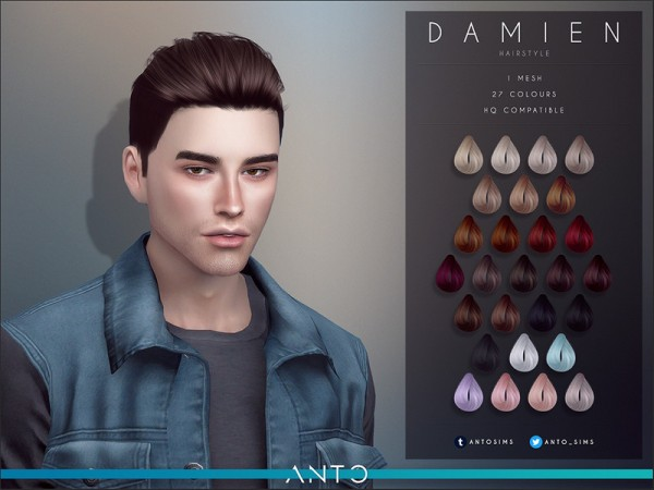 The Sims Resource: Damien Hair by Anto for Sims 4
