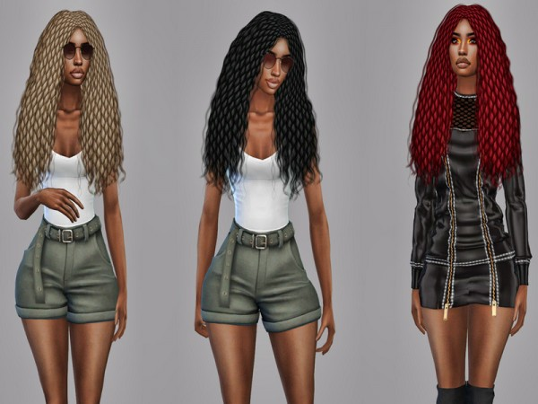 The Sims Resource: Naomi Braided Hair Recolor by Teenageeaglerunner for Sims 4