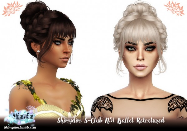 Shimydim: S Club`s N51 Ballet Hair Retextured for Sims 4
