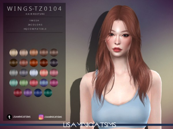 The Sims Resource: WINGS TZ0104 Hair Retextured by Lisaminicatsims for Sims 4