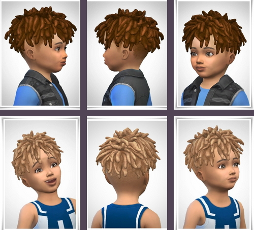 Birksches sims blog: Chad Dreads Hair Toddler version for Sims 4