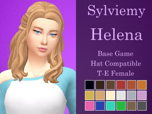 The Sims Resource: Helena Hair Retextured by Sylviemy for Sims 4