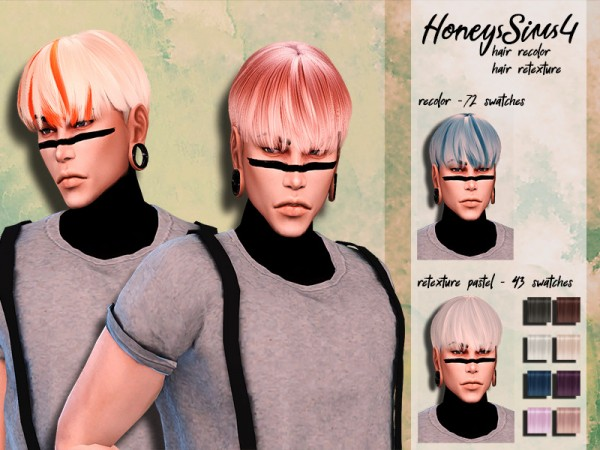 The Sims Resource: Musae`s Gelato hair retextured by HoneysSims4 for Sims 4