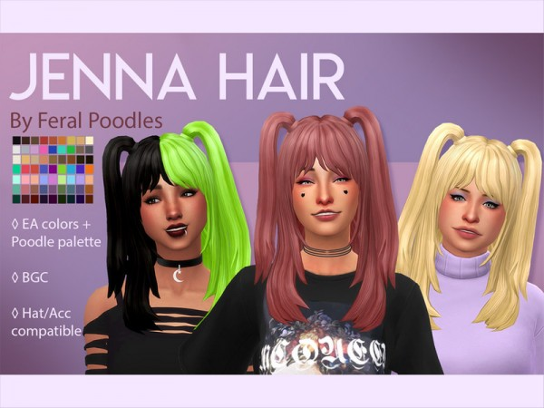 The Sims Resource: Jenna Hair by feralpoodles for Sims 4