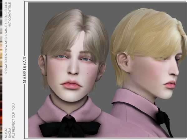 The Sims Resource: Sagna Hair by magpiesan for Sims 4