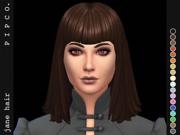 The Sims Resource: Jane hair retextured by Pipco for Sims 4