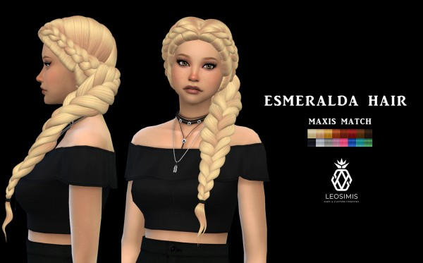 Leo 4 Sims: Esmeralda Hair for Sims 4