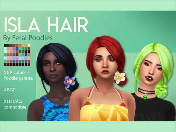 The Sims Resource: Isla Hair Retextured by feralpoodles for Sims 4