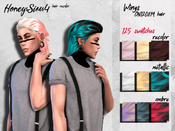 The Sims Resource: WINGS ON1208 hair retextured by HoneysSims4 for Sims 4