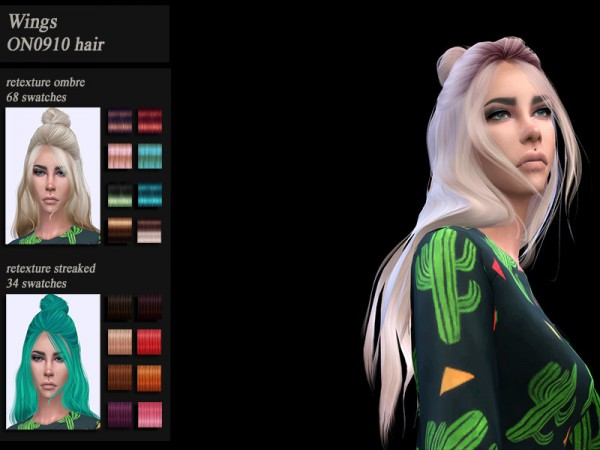 The Sims Resource: Wings ON0910 hair retextured by HoneysSims4 for Sims 4