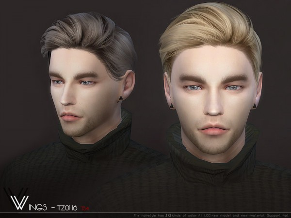The Sims Resource: WINGS TZ0116 hair for Sims 4